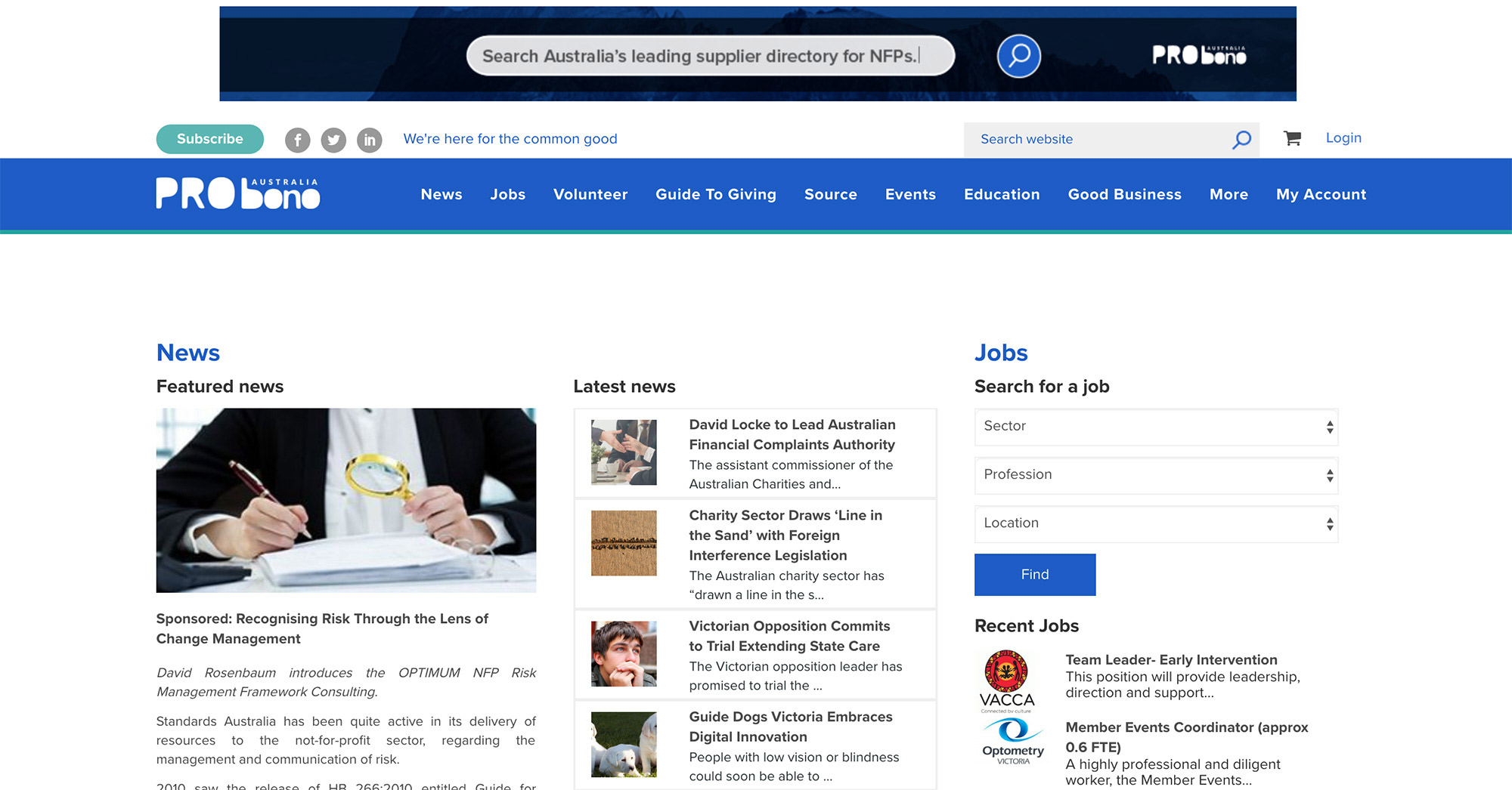 Image of hero section - Pro Bono Australia homepage