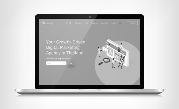 Noria website home greyscale