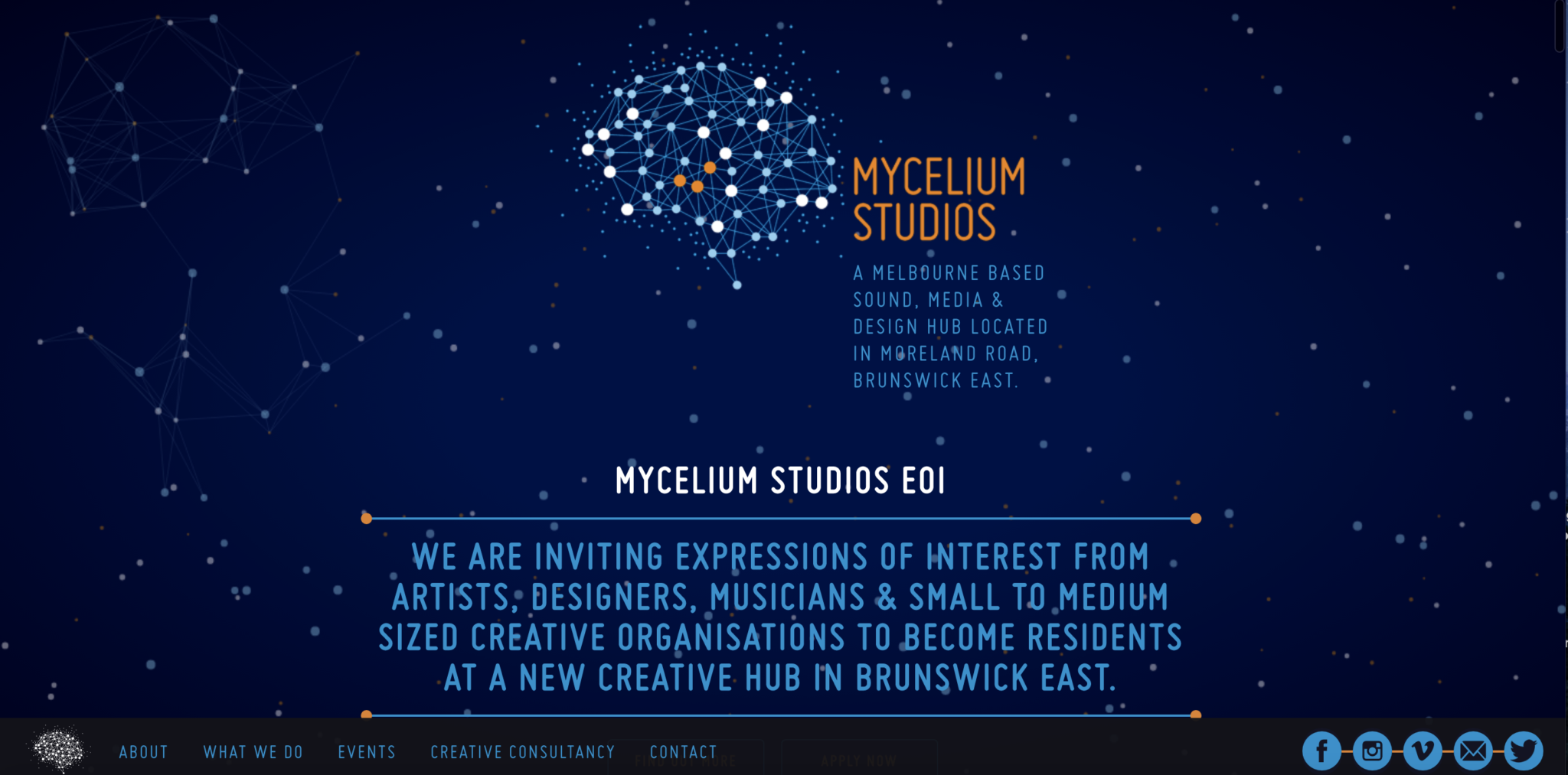 Image of hero section - Mycelium Studios homepage - article by Ethical Design Co.