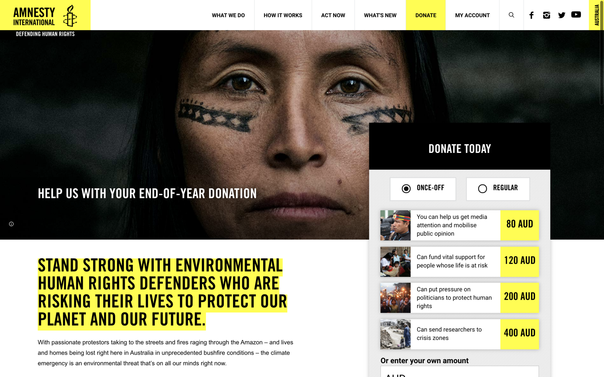 Image of Amnesty International Australia Donate page - header section