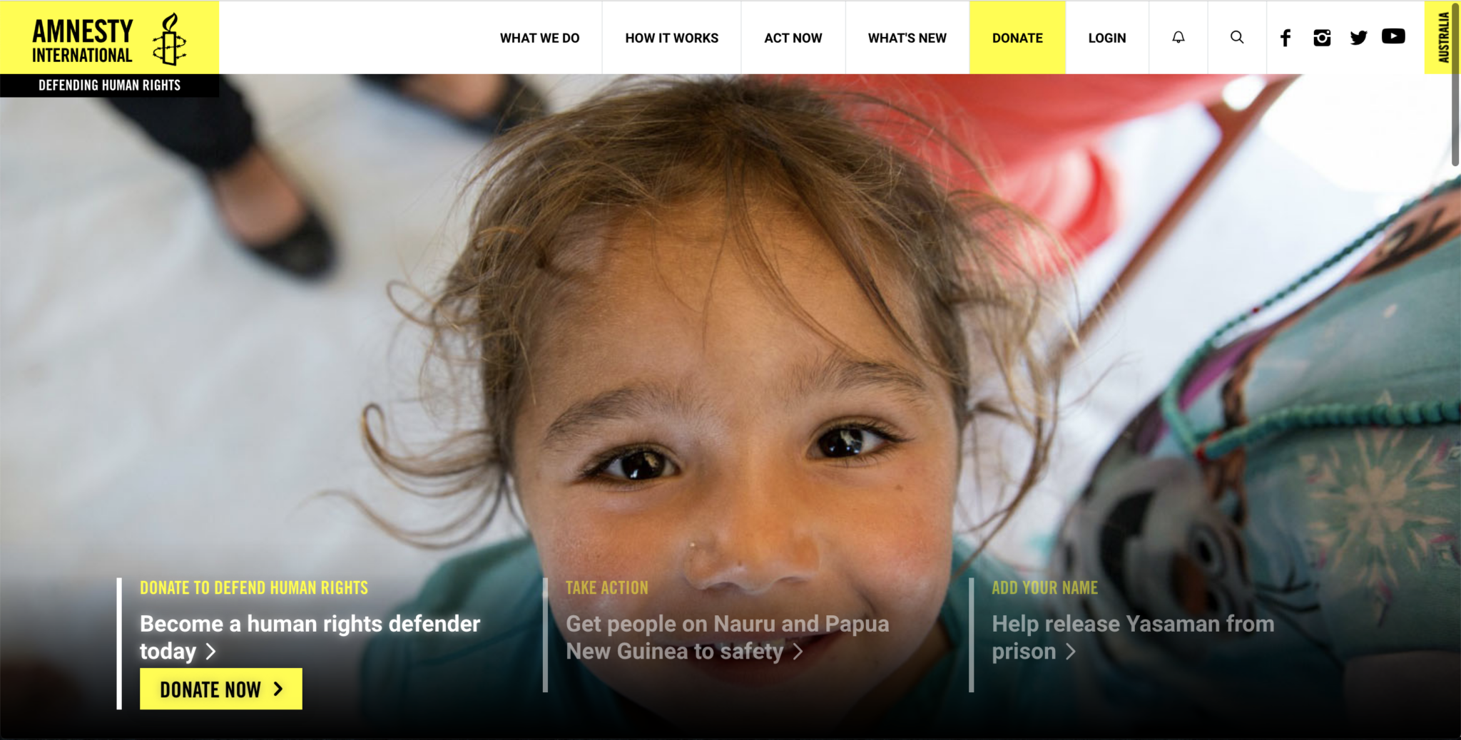 Image of hero section - Amnesty International Australia home page