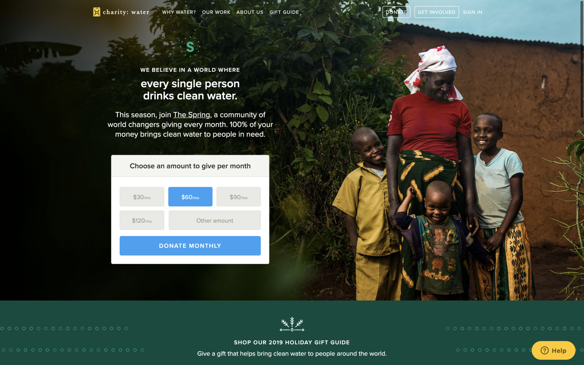 Image of hero section - Charity: water homepage