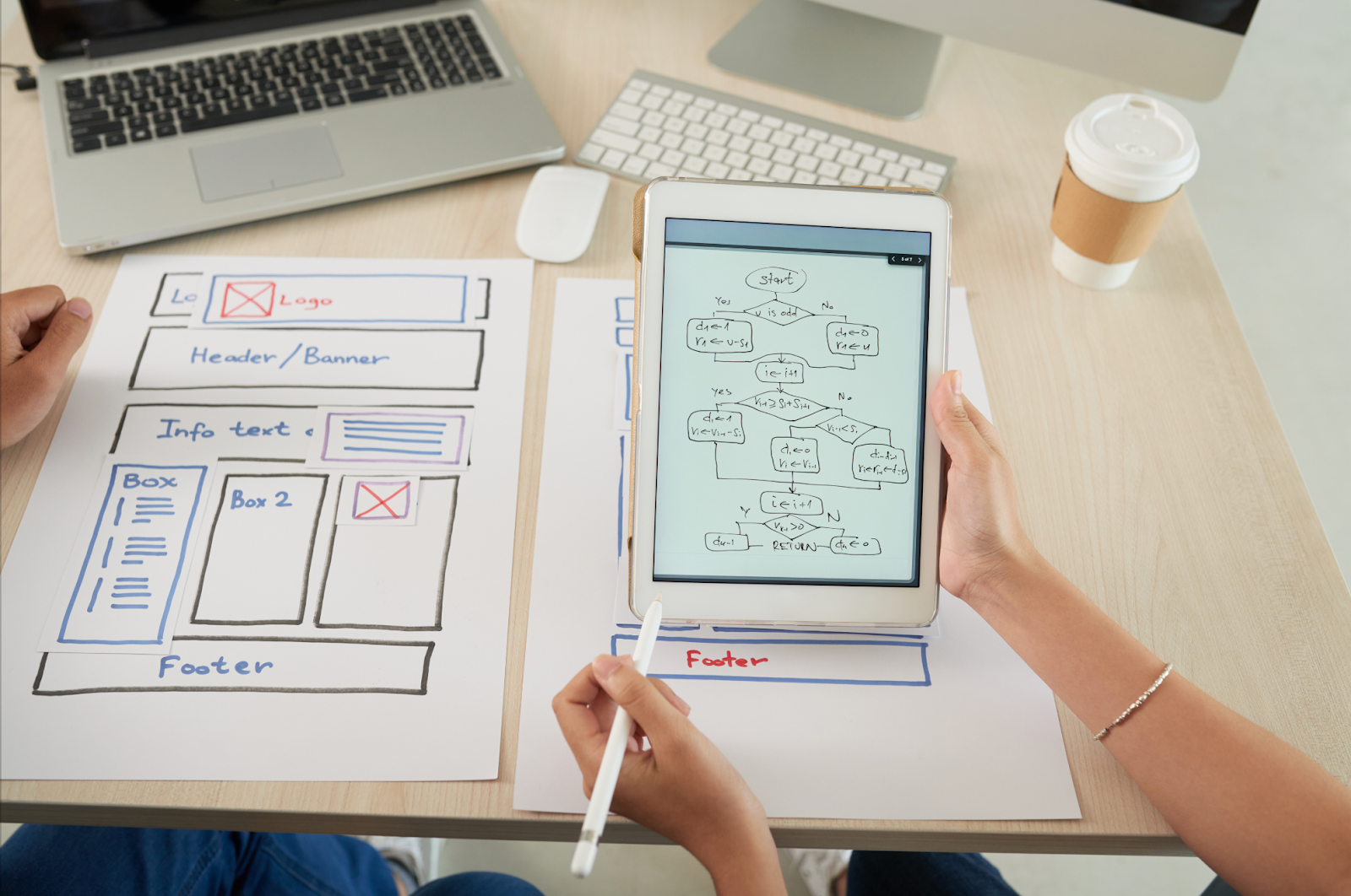 UX wireframes displayed on tablet and on paper