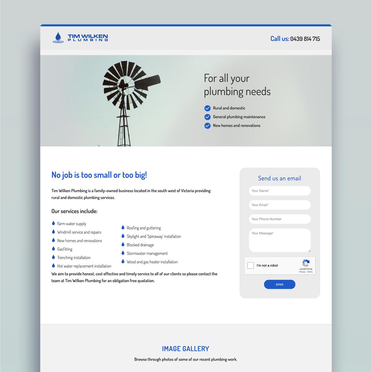 Tim Wilken Plumbing website - home page mock up