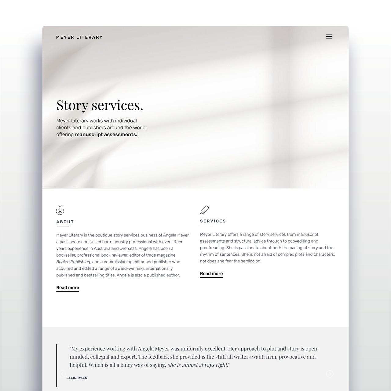 Meyer Literary website - home page mock up