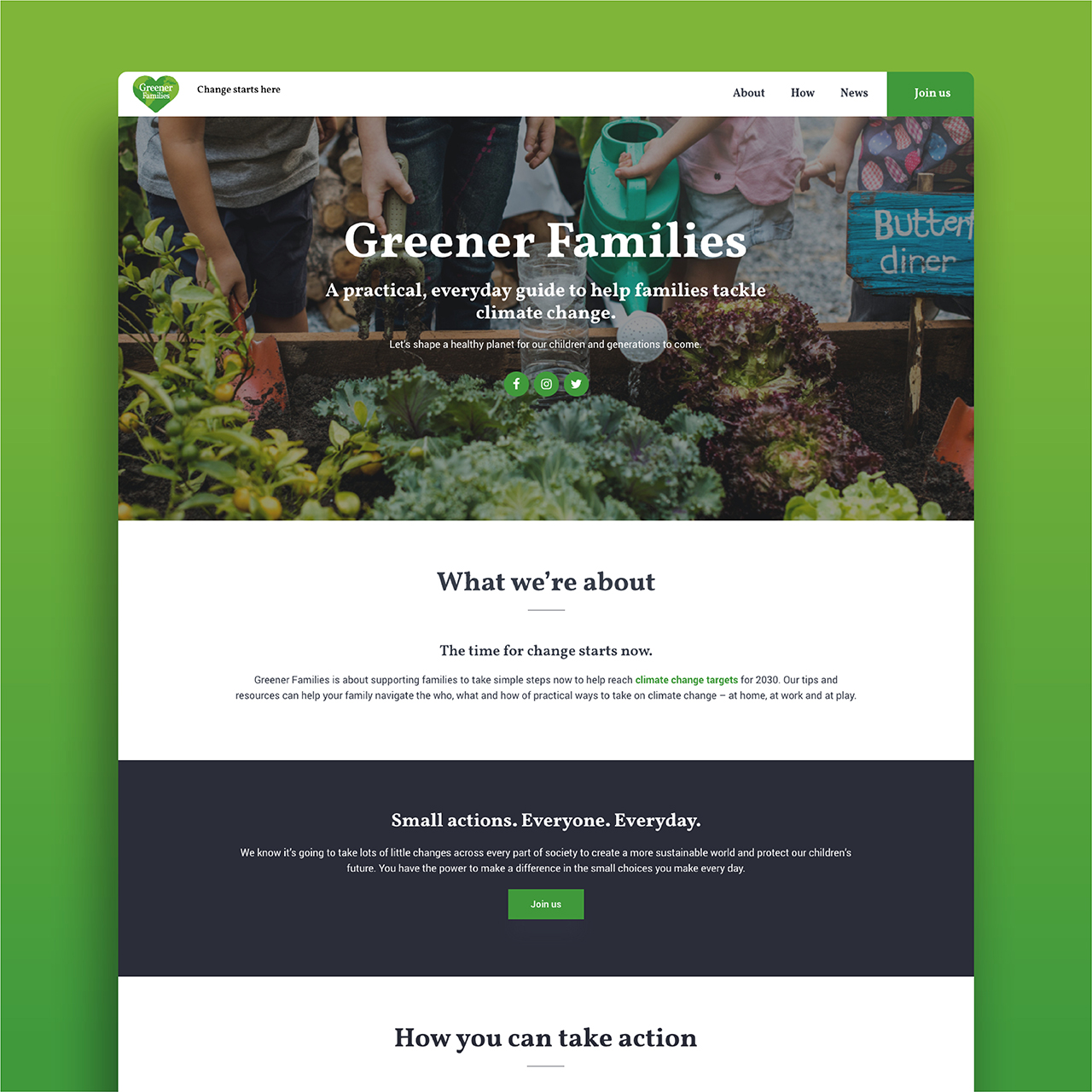 Greener Families website - home page mock up